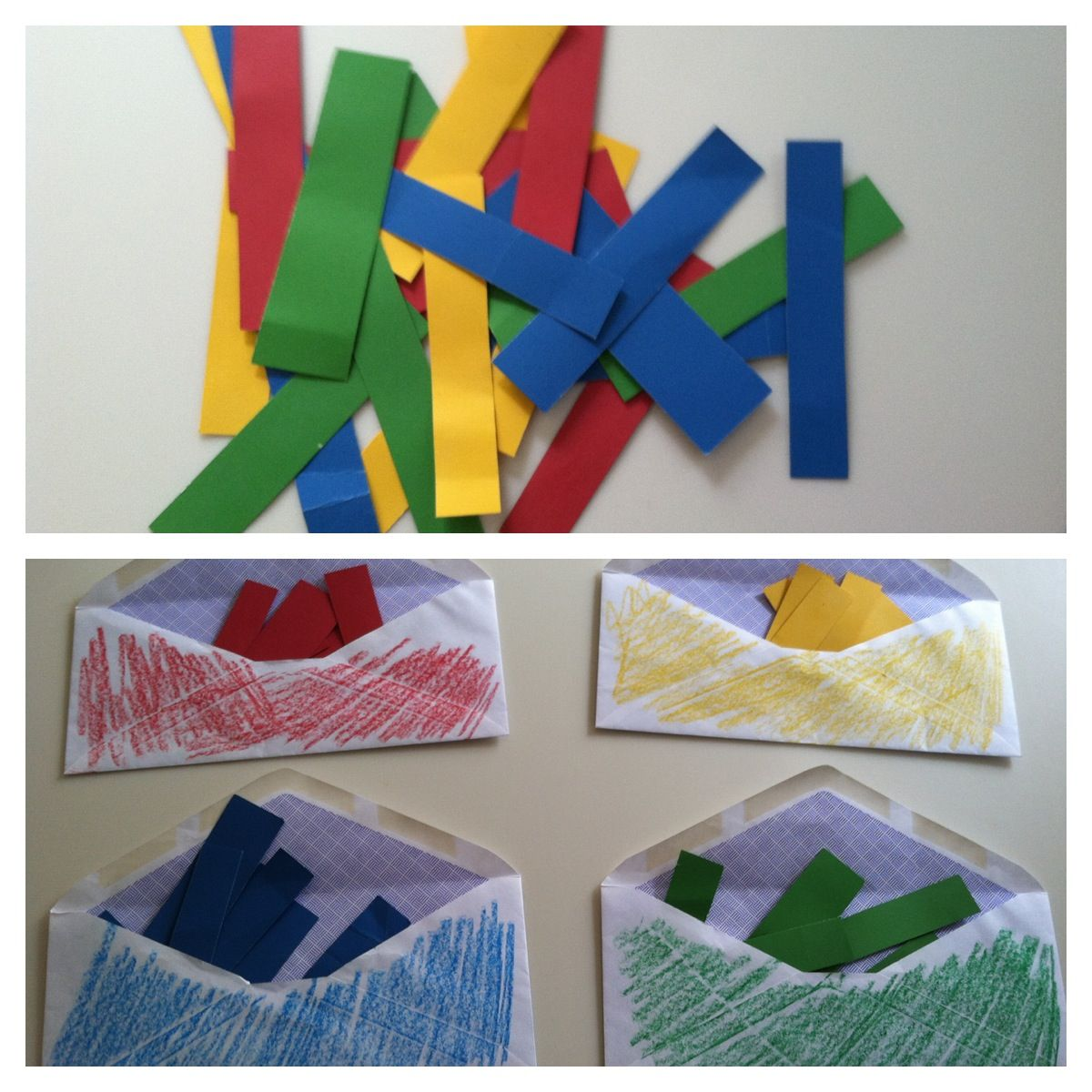 Activity For Developmentally Delayed Children Take Four Envelopes And Color Them Red Yellow