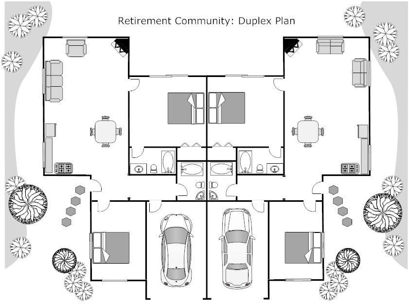 Impressive Duplex Floor Plan with Smart Draw Floor Plan