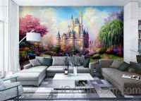 3D Tinkerbell Fairy Castle Wall paper Rainbow Disney