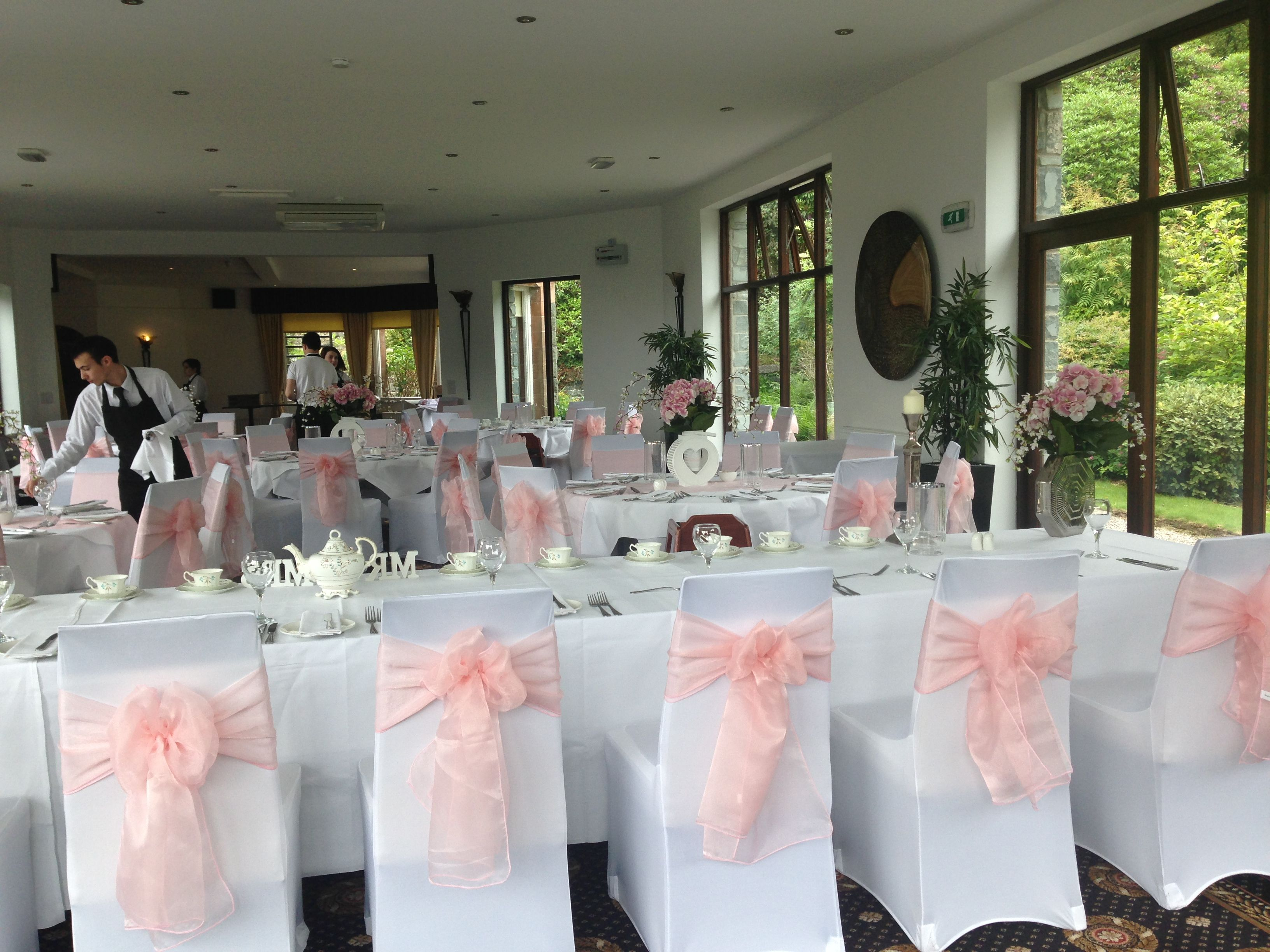 wedding chair covers melbourne fabric parsons chairs white and pale baby pink sashes bron eifion