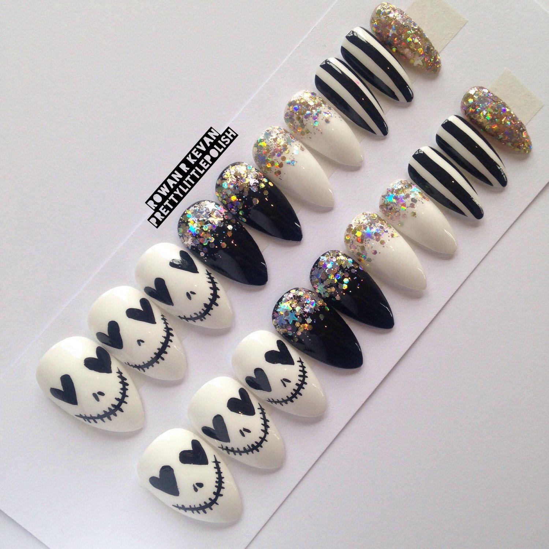 Skull & glitter stiletto nails, Nail designs, Nail art