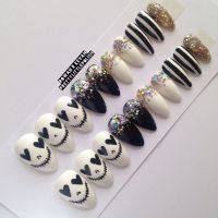 Skull & glitter stiletto nails, Nail designs, Nail art