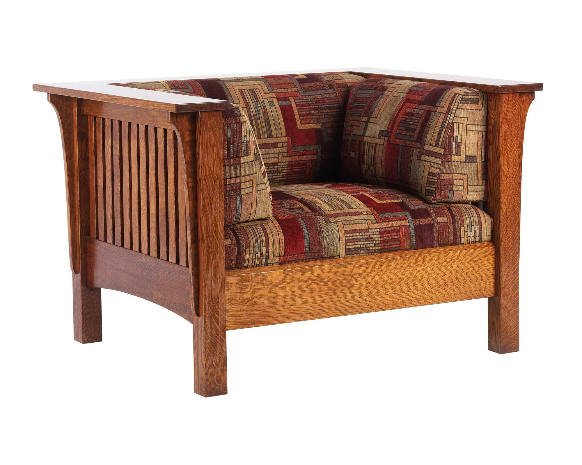 shaker style sofa plans white leather sleeper oak mission low back wide chair amish furniture solid