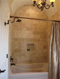 Travertine tile bathtub shower combo surround design ideas