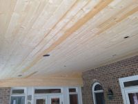 Tongue and groove white pine porch ceiling before stain. # ...