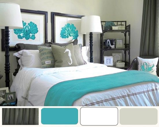 grey and turquoise bedroom ideas | bedroom colors / bedroom ideas