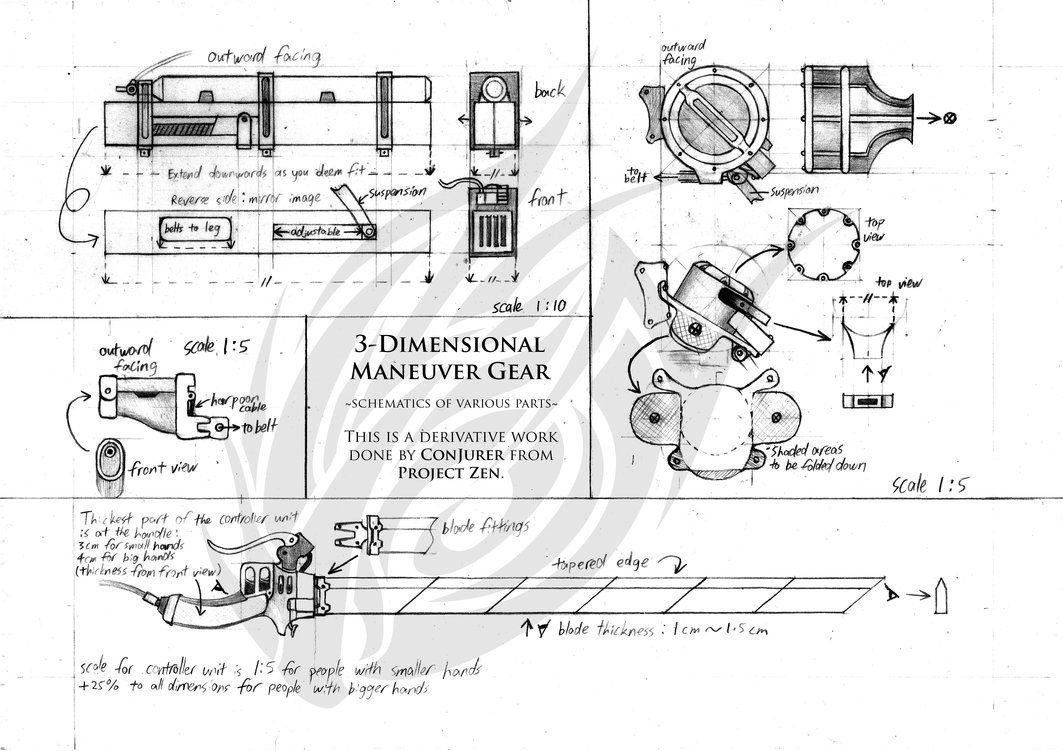 Three-Dimensional Maneuver Gear (3DMG) Schematics by