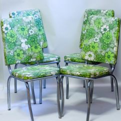 Green Kitchen Chairs Trays Mid Century Chrome 1950s Floral Vinyl