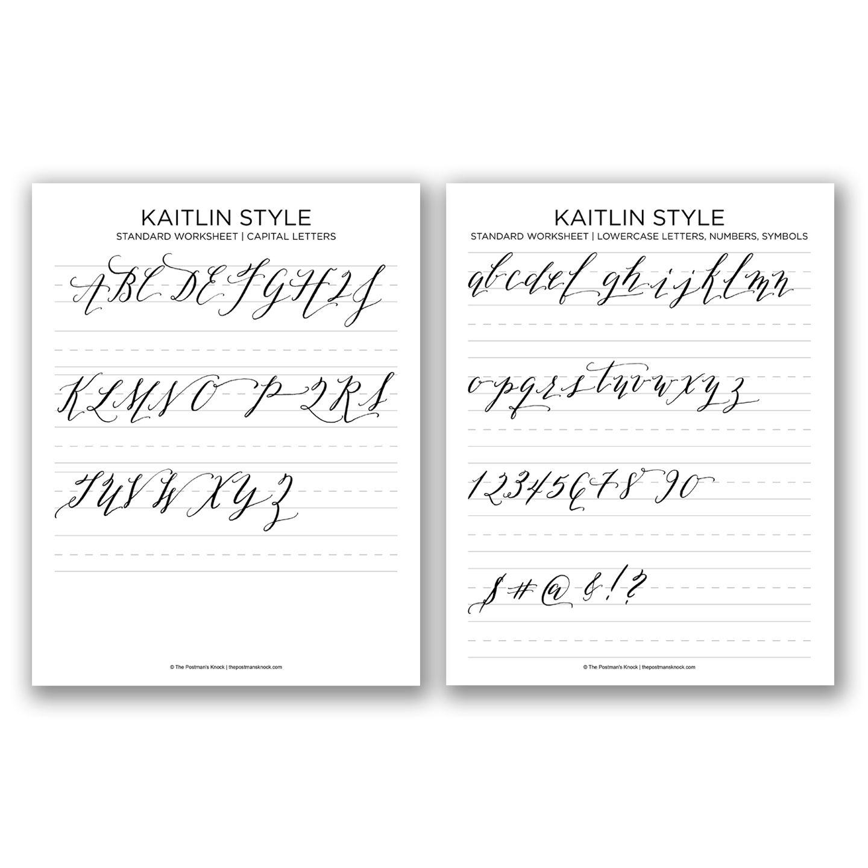 Free Basic Calligraphy Worksheet Kaitlin Style
