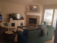 love this corner fireplace living room layout, especially ...
