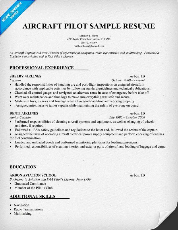 #Aircraft #Pilot Resume Resumecompanion Com