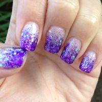 My Calgel purple glitter fade nails :)) | My Style ...