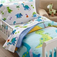 Dinosaurland Blue Green Dinosaur Toddler Bedding Comforter ...