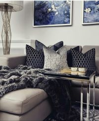 Grey And Navy Blue Living Room