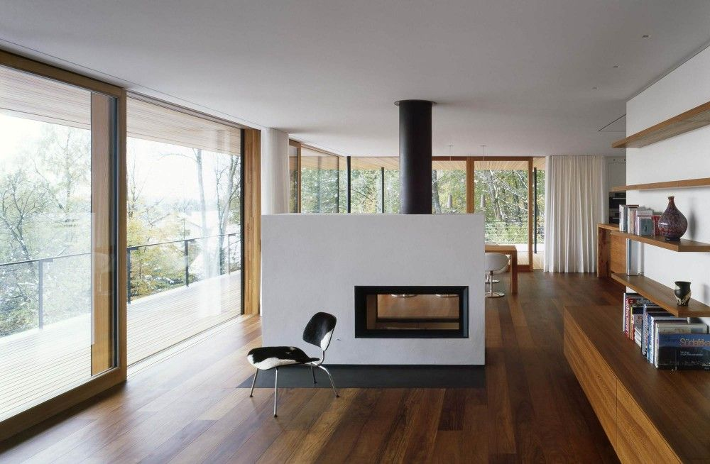 Moderne Innovative Luxus Interieur Ideen Furs Wohnzimmer Minimalistisch Holz Bodenbelag Weiss Kaminofen Wohnbereich