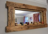 Chunky Rustic reclaimed wooden Mirror tea light shelf wall ...