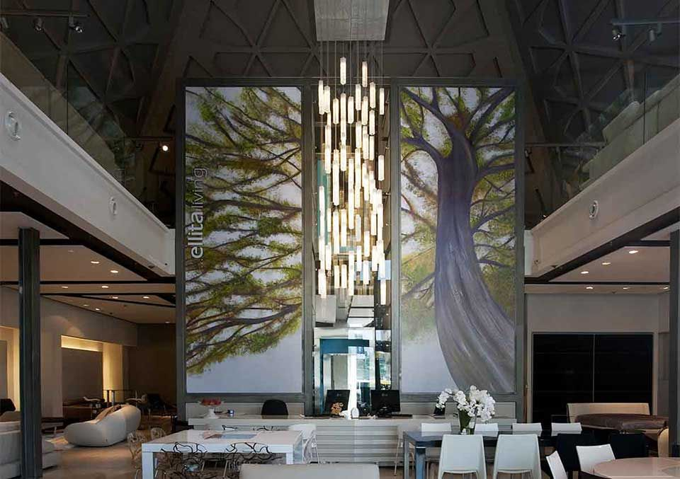 tall entry lobby chandelier