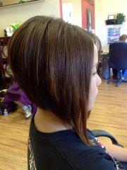 long stacked bob hairstyle fade