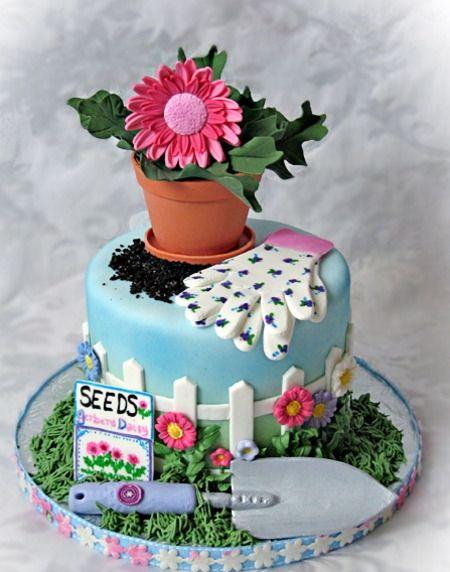 Beautiful Gardening Cake Pinteres