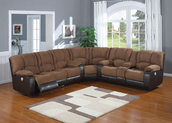 power reclining sofa with cup holders covers uk 3 pc 2 tone jagger mocha microfiber and leather like vinyl ...