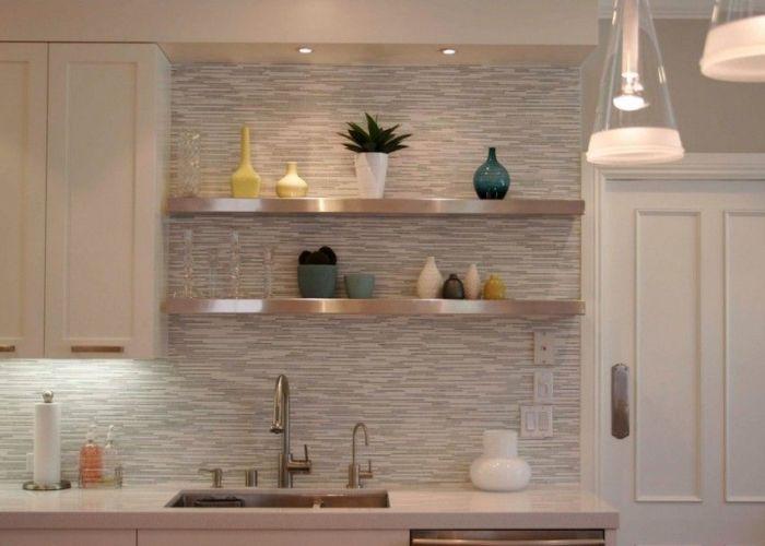 Lovely white kitchen backsplash ideas for your creation fascinating horizontal glass tile also