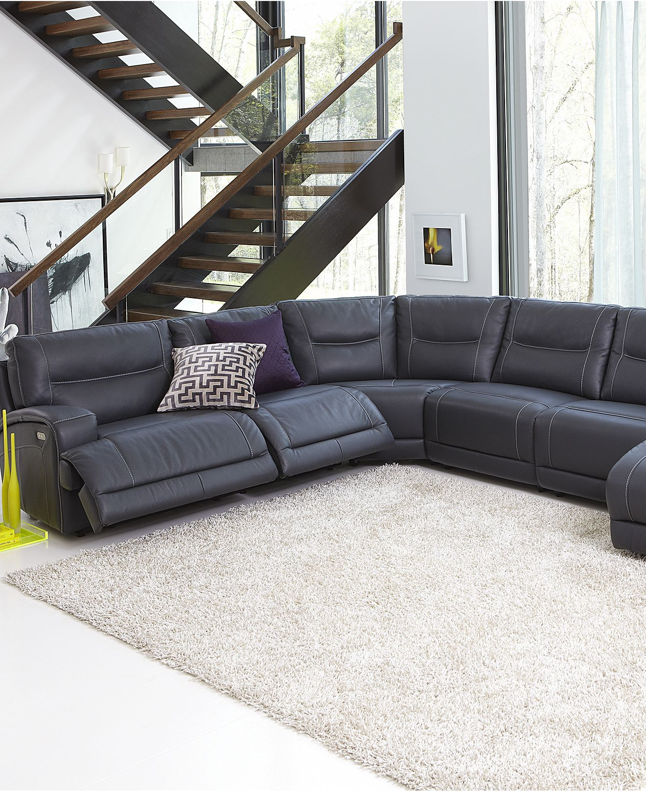 caruso leather 5 piece power motion sectional sofa by design living room