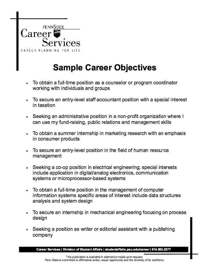 Example Of Job Objective For Resume How To Write A Career