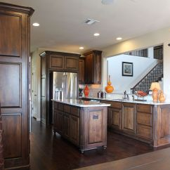 Alder Kitchen Cabinets Home Depot Faucets Delta Burrows In Stained Knotty Island