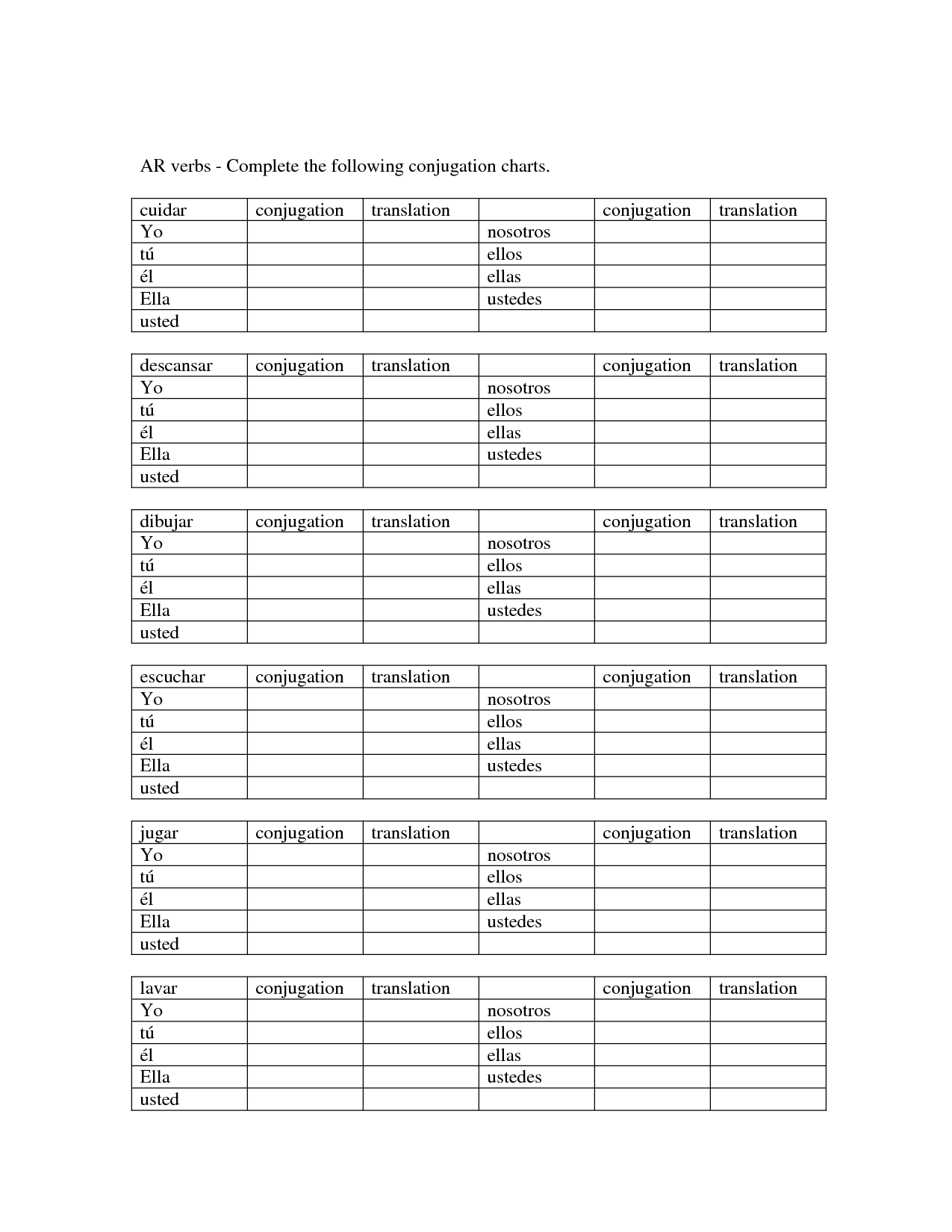Blank Spanish Conjugation Charts With All Conjugations