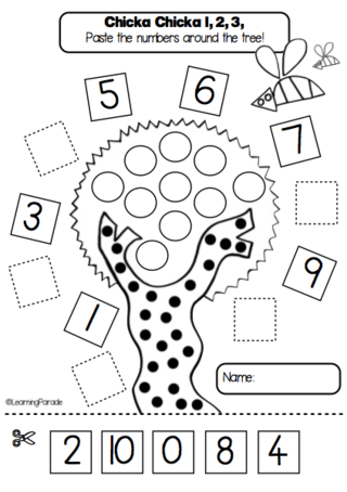 Ordering numbers up to 10: activity based on Chicka Chicka