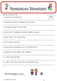 Sentence Structure 1 | ESL worksheets of the day ...