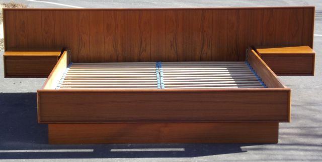 Danish Teak Queen Platform Bed with Floating Nightstands by