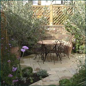 Small Space Mediterranean Garden Design With Softly Coloured