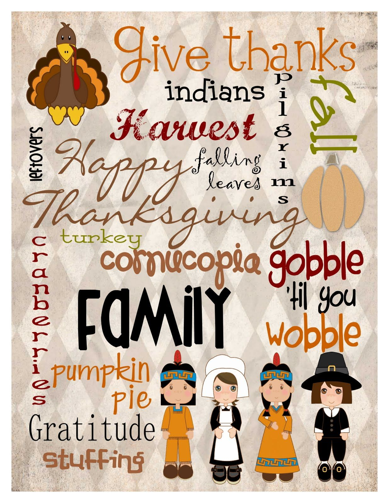 Mule N Nag Crafts Freebie Thanksgiving Subway Art