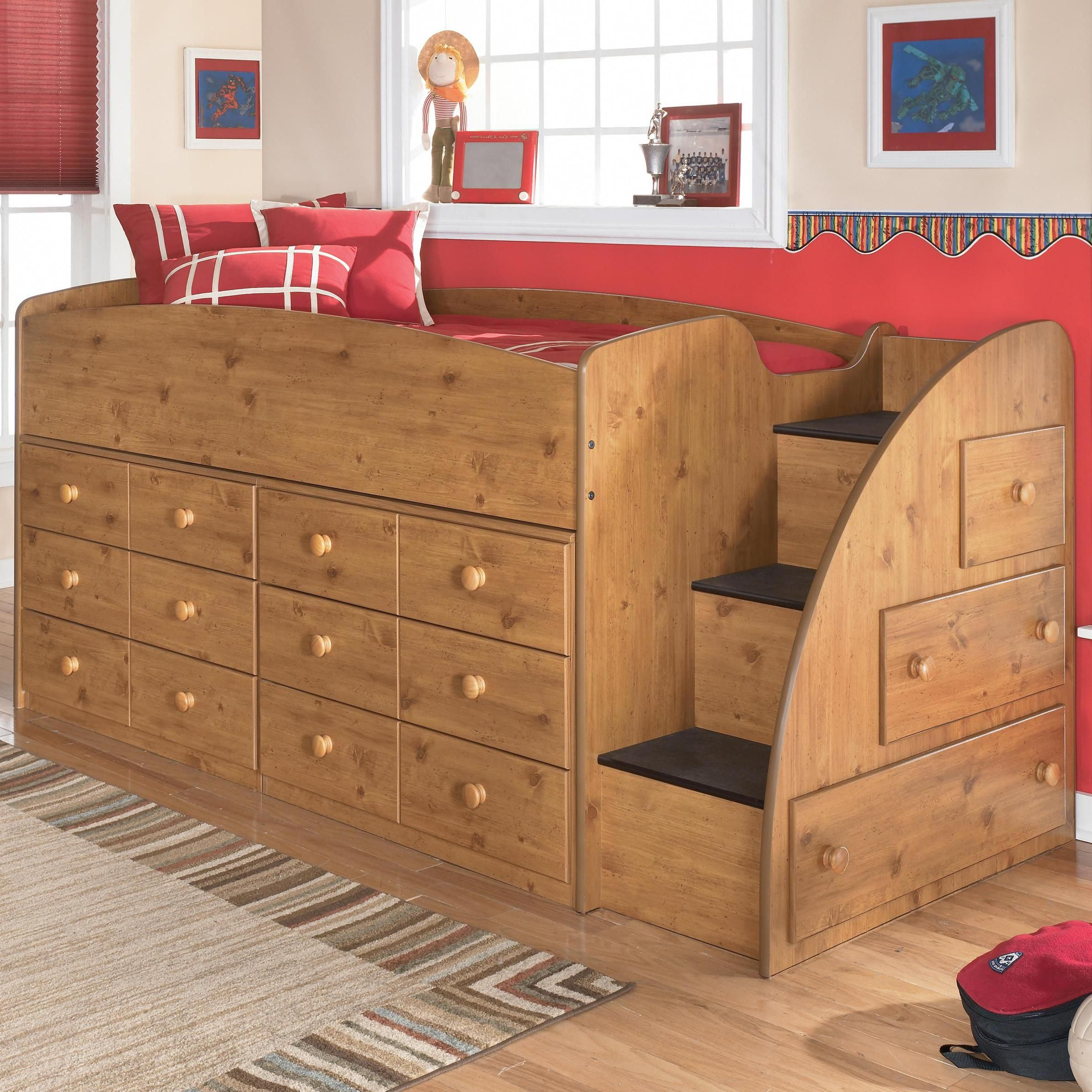Stages Twin Loft Bed with Right Steps  Chest Storage by
