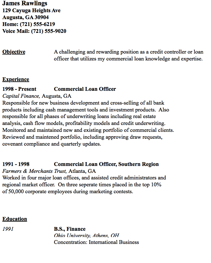 Commercial Loan Officer Resume Sample Resumesdesign Com