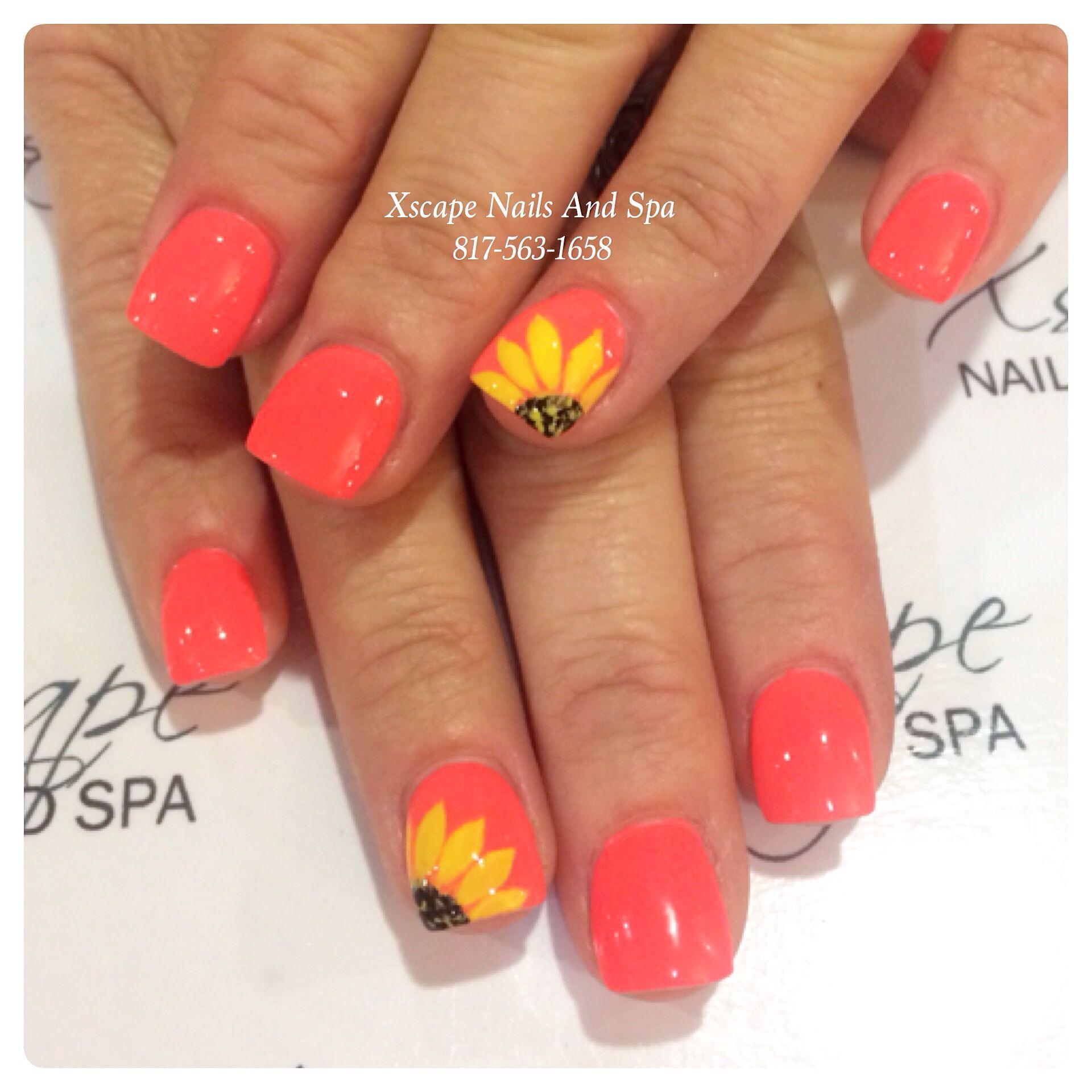 Sunflower nails/ summer nails