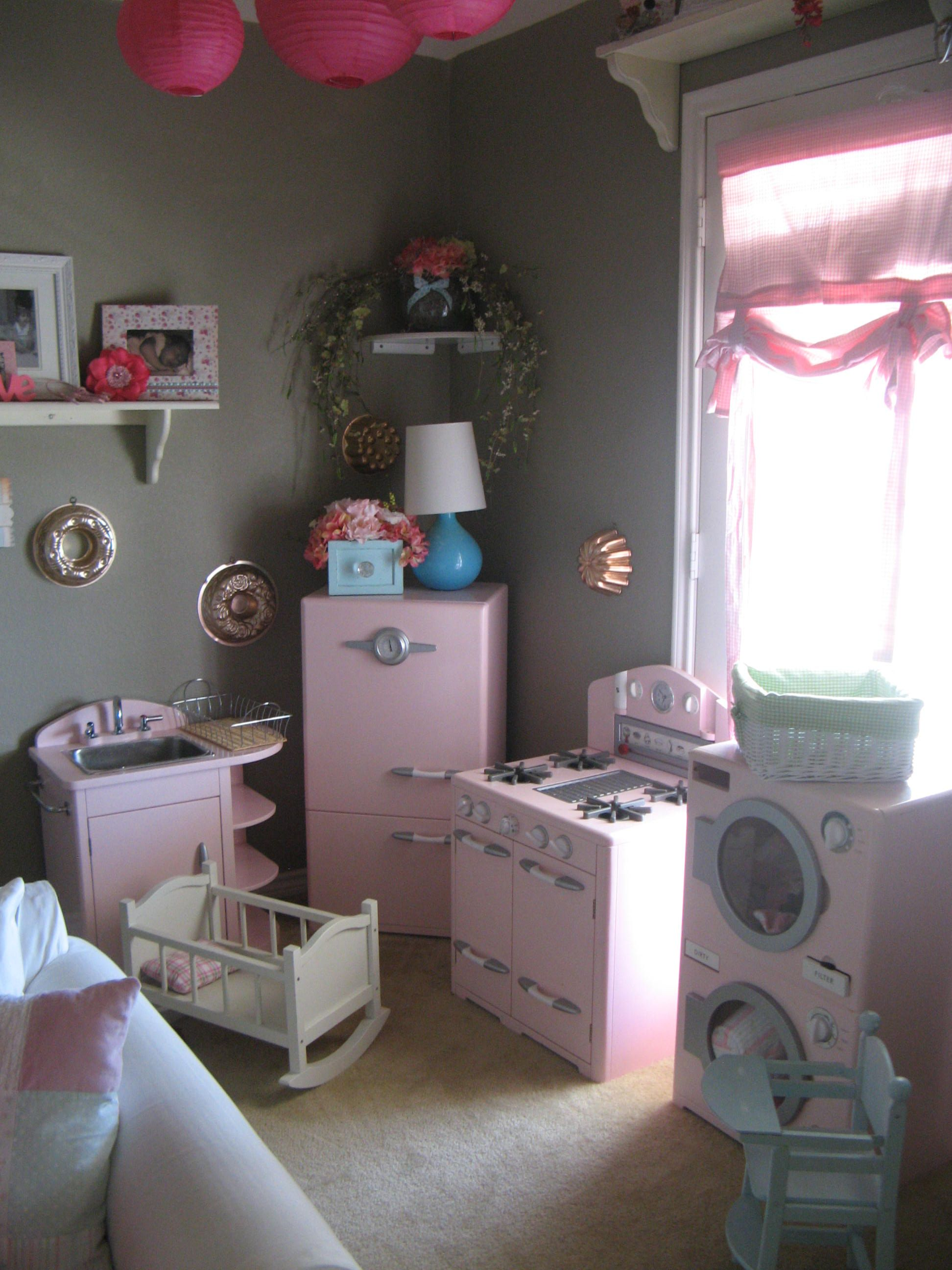 pottery barn kitchens cork kitchen flooring pretend play area kids pink retro