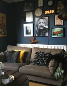 Living room painted in farrow  ball stiffkey blue gallery wall dark interiors also rh pinterest