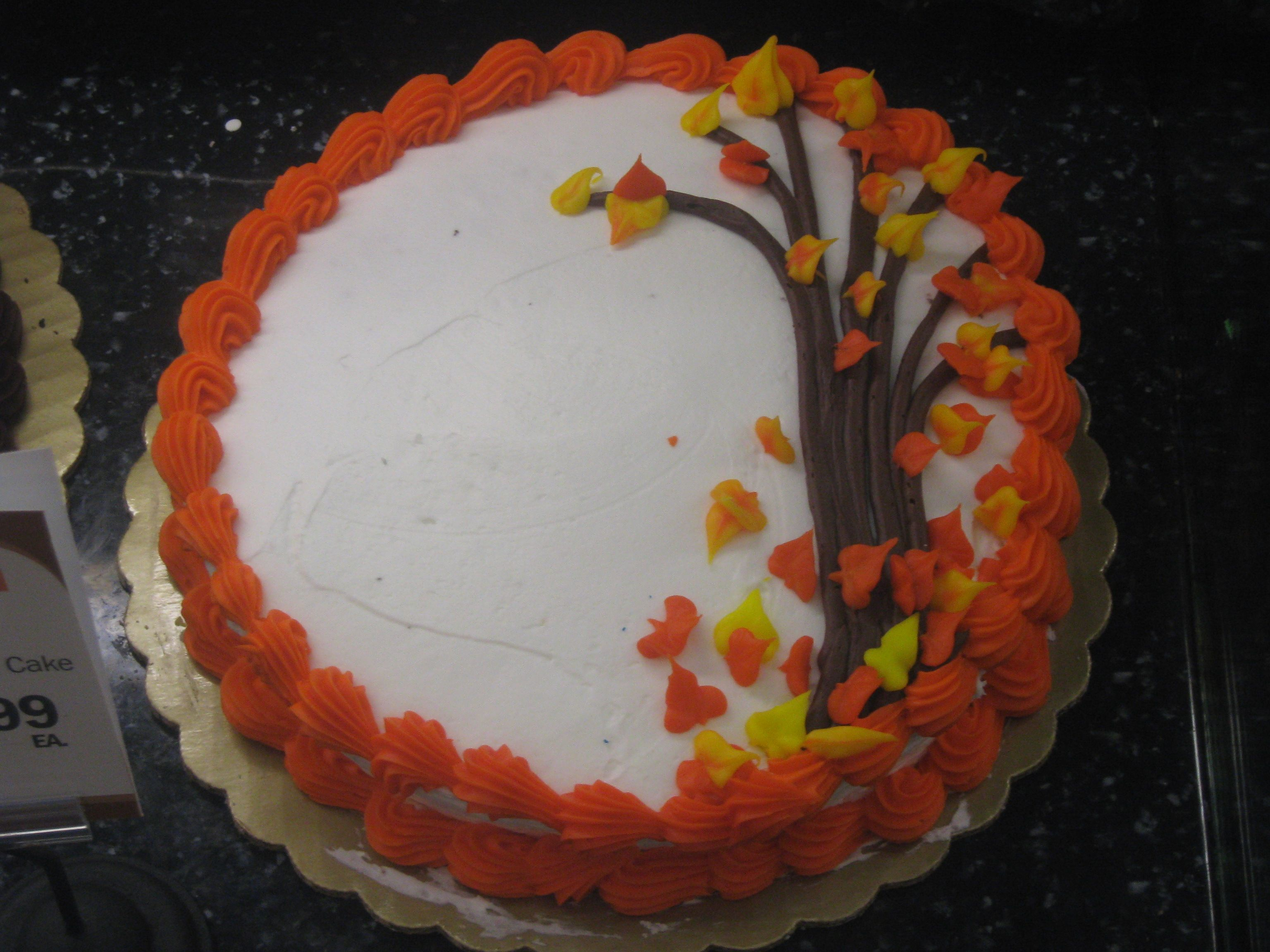 Simple Autumn Leaves Cake 8 Single Layer