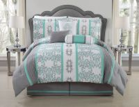 11 Piece Queen Alieli Gray/Mint Bed in a Bag Set