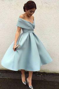 Light blue chiffon off-shoulder A-line knee-length dress ...