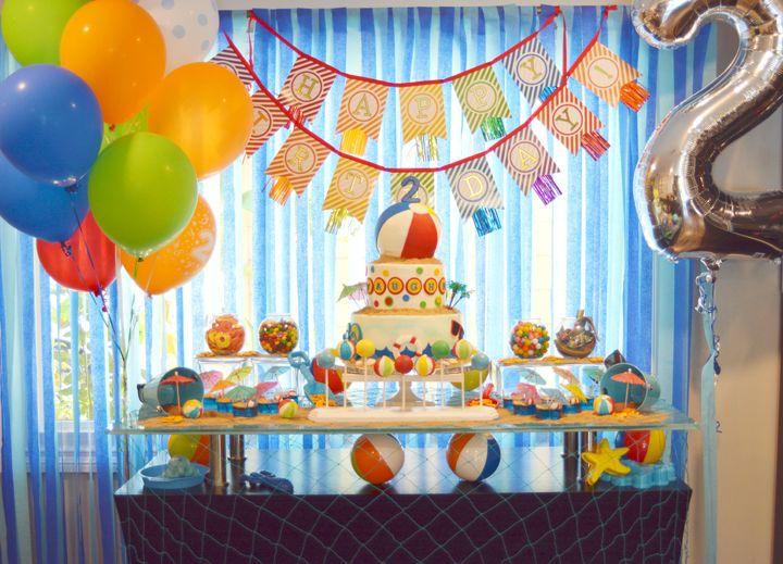 A Pool Party Splash Birthday Dessert Table Decor With