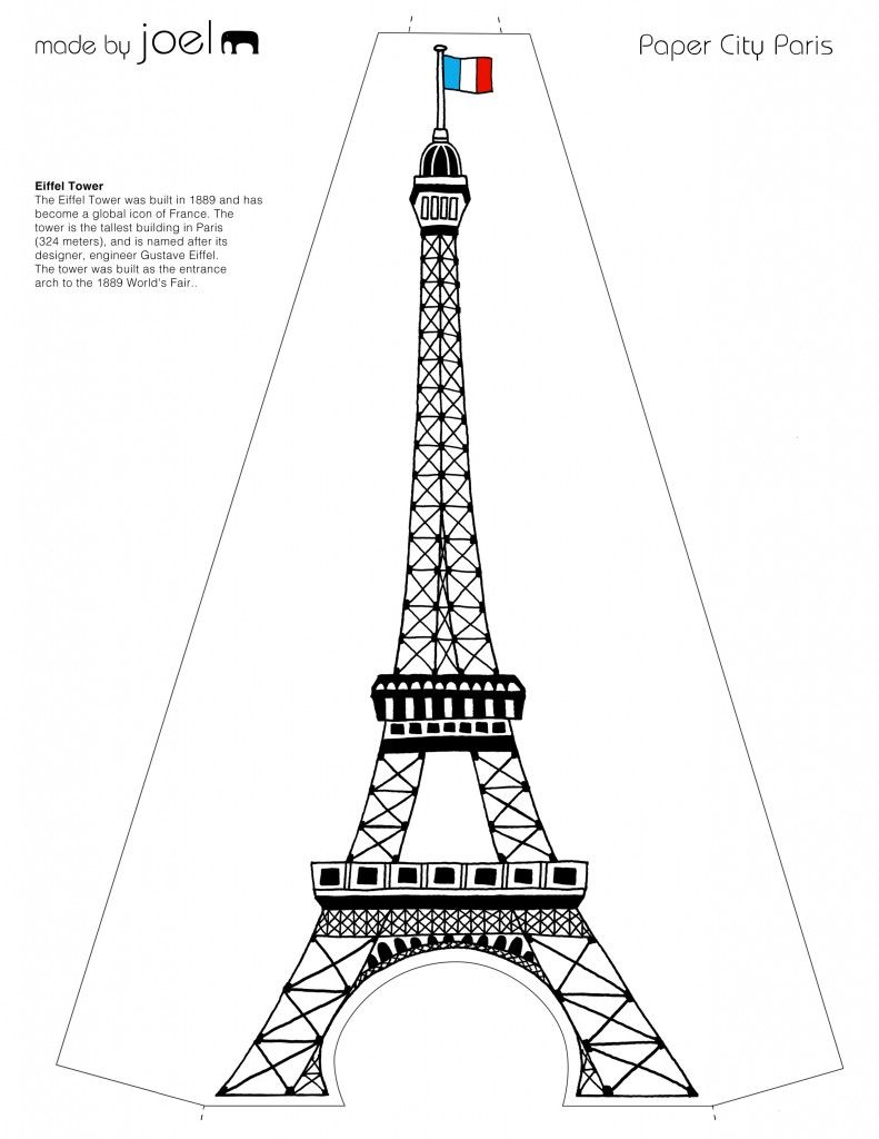Weeks 14-15: Eiffel Tower Template. Outline with glue, let
