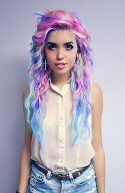 hair crazy curly blue blonde purple