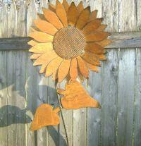 Sculptured Metal Sunflower wall art with a natural rust ...
