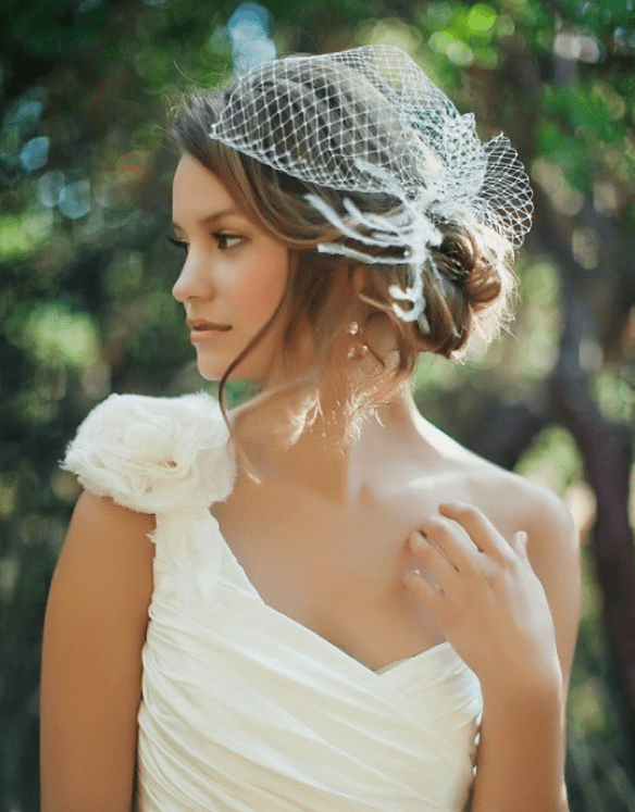 Side Bun With Birdcage Veil Wedding Hairstyles To Wear With A