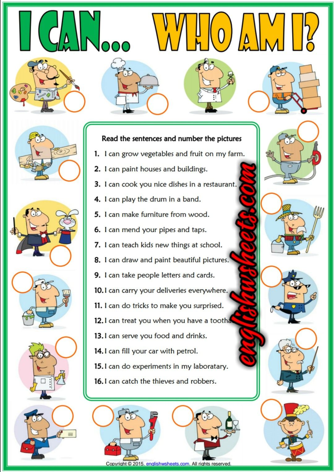 Ability Can Esl Printable Jobs Matching Exercise Worksheet