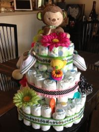 Diaper cake for unknown gender twins! | Baby Shower Ideas ...