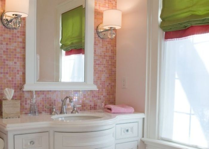 Tatums bathroom would do another colour but really like the glass tiles and also